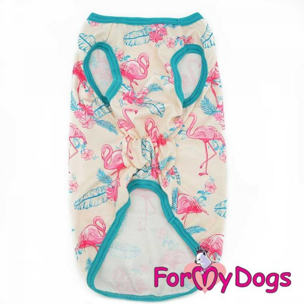 t-shirt decorated with flamingo print ft-003