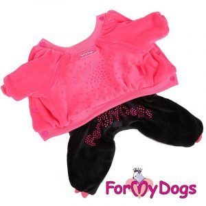 velour suit for dogs in pink kc-004