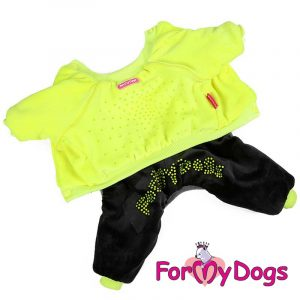 velour suit for dogs in yellow kc-005