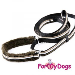 collar with leash in black op-001